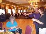 Phyllis Harris Boyd and Liliane Straussman McClenning getting the ribbons ready for the balloons.