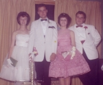 Senior Prom. Left to right: Sandra Ambrogio, James Lekas, Adele Barretta (class of 1962), and Mark Levin.  Sandra and Ja